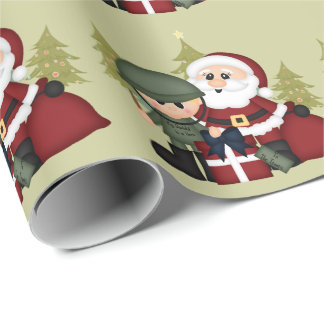 Military Soldier and Santa Claus Christmas Custom Wrapping Paper