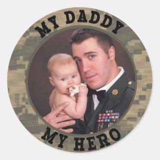 Military Soldier My Daddy My Hero Custom Photo Round Sticker