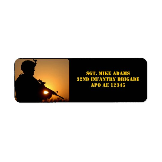 Military Soldier With Rifle At Sunset Return Address Label