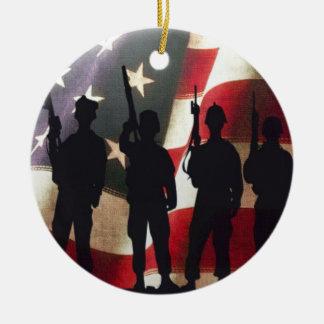 Military Soldiers Silhouette Patriotic Flag Round Ceramic Decoration