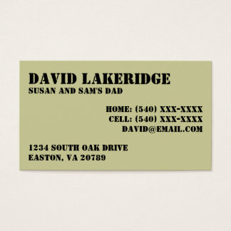 Military Style Daddy Contact  Info Card