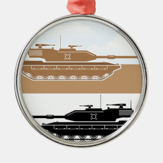 Military Tank simple vector Silver-Colored Round Decoration