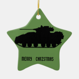 Military Tank Star with Camo Back Christmas Ornament