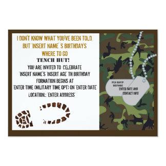 Military theme birthday party 13 cm x 18 cm invitation card