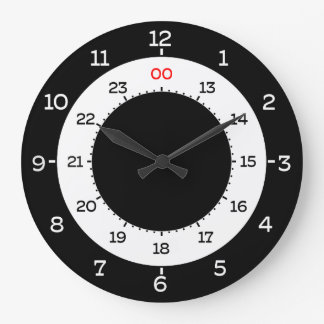 MILITARY TIME - 12-HOUR FORMAT LARGE CLOCK