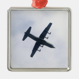 Military Transport Aircraft Silver-Colored Square Decoration