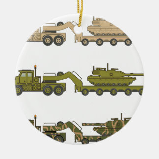 Military Truck pulling tank Christmas Ornament