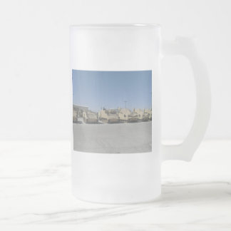 MILITARY UNITED STATES FROSTED GLASS BEER MUG