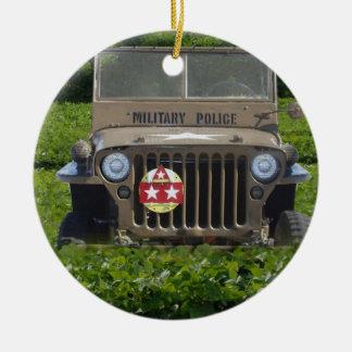 Military Vehicle Round Ceramic Decoration