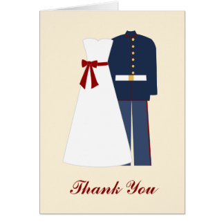 Military Wedding Thank You Notes Note Card