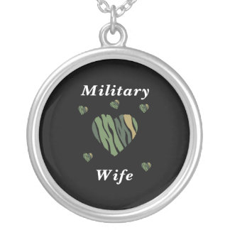 Military Wife Love Round Pendant Necklace