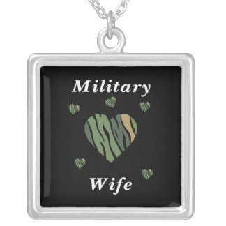 Military Wife Love Square Pendant Necklace