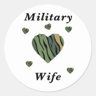 Military Wife Love Classic Round Sticker