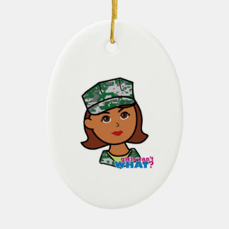 Military Woman Ceramic Oval Decoration