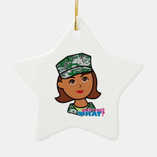 Military Woman Double-Sided Star Ceramic Christmas Ornament