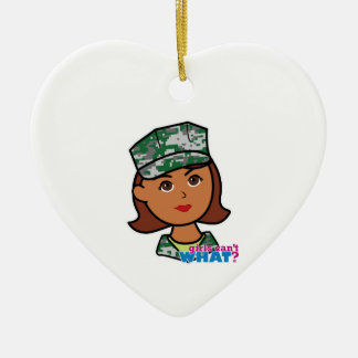 Military Woman Double-Sided Heart Ceramic Christmas Ornament