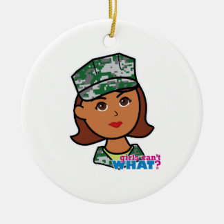 Military Woman Round Ceramic Decoration