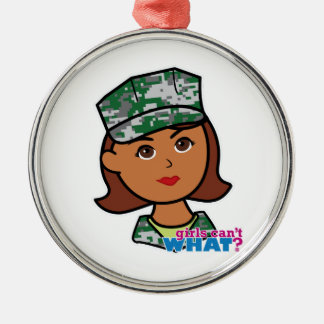 Military Woman Silver-Colored Round Decoration