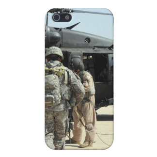 Military working dog handlers board a helicopte cover for iPhone 5