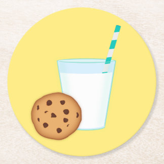 Milk and Chocolate Chip Cookie Round Paper Coaster