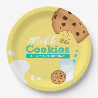 Milk and Chocolate Chip Cookies Birthday Party Paper Plate