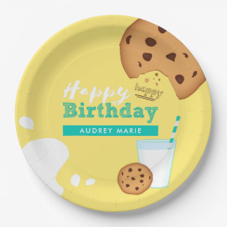 Milk and Chocolate Chip Cookies Happy Birthday Paper Plate