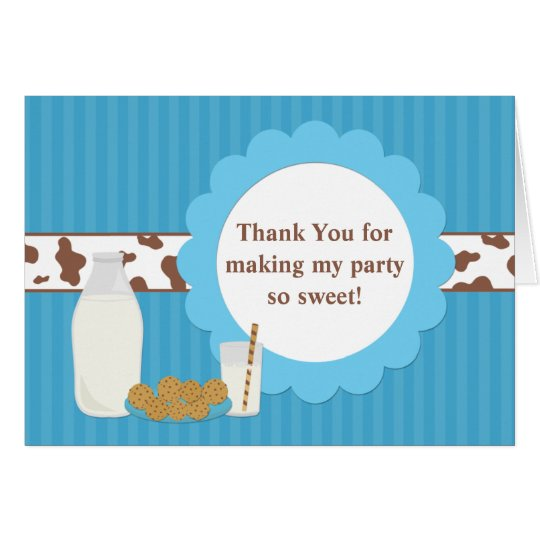 Milk and Cookies Birthday Party Thank You Card
