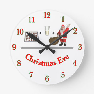 Milk and Cookies Christmas Eve Round Clock