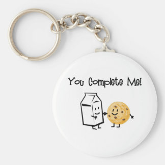 Milk and Cookies Basic Round Button Key Ring