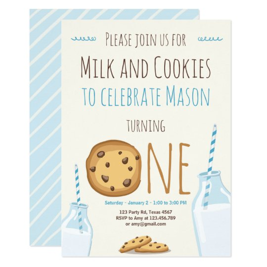 Milk and Cookies Party invitation Boy Birthday