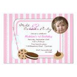 Milk and Cookies Photo Birthday 13 Cm X 18 Cm Invitation Card