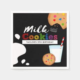 Milk and Cookies Rainbow Birthday Party Disposable Serviette