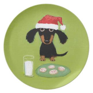 Milk and Cookies Santa Dachshund - Cute Dog Plate