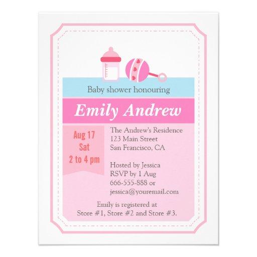 Milk Bottle Girl Baby Shower Pink Invitation Custom Invites