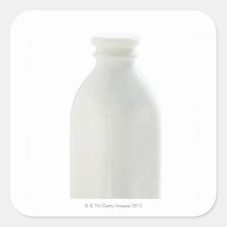 Milk bottle on white background square sticker
