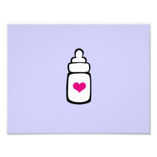 Milk bottle with heart art photo