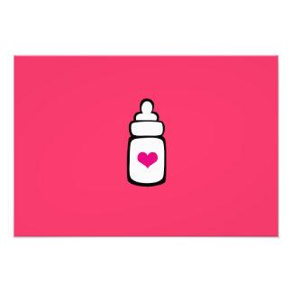 Milk bottle with heart photo print