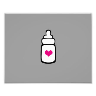 Milk bottle with heart photographic print