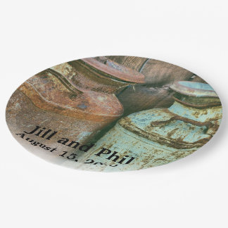 Milk Cans Vintage Metal Rustic Antique Monogram Paper Plate
