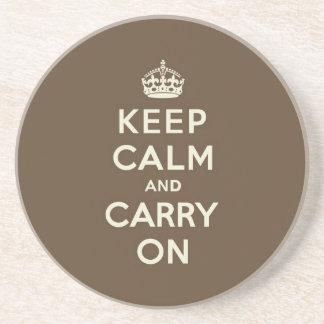Milk Chocolate Keep Calm and Carry On Coaster
