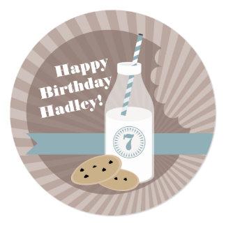 Milk & Cookies Birthday Choc Chip Round Blue 13 Cm X 13 Cm Square Invitation Card