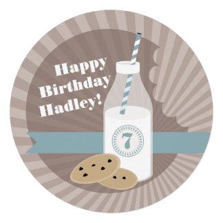 Milk Cookies Birthday Choc Chip Round Blue Invite
