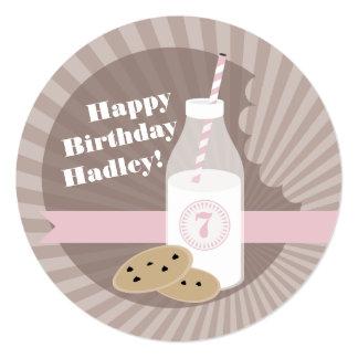 Milk & Cookies Birthday Choc Chip Round Pink 13 Cm X 13 Cm Square Invitation Card