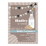 Milk & Cookies Birthday - Chocolate Chip Blue 13 Cm X 18 Cm Invitation Card