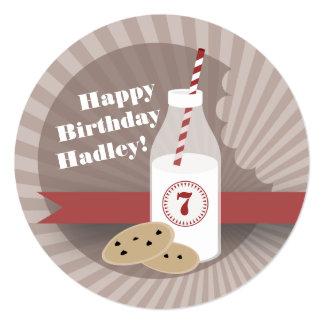 Milk & Cookies Birthday - Chocolate Chip Round 5.25x5.25 Square Paper Invitation Card