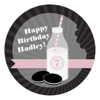 Milk Cookies Birthday Chocolate Round Pink Invitation