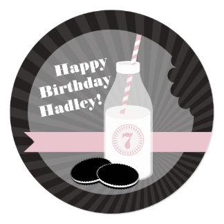 Milk & Cookies Birthday Chocolate Round Pink 5.25x5.25 Square Paper Invitation Card