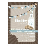 Milk & Cookies Birthday - Fudge Striped & Blue 13 Cm X 18 Cm Invitation Card