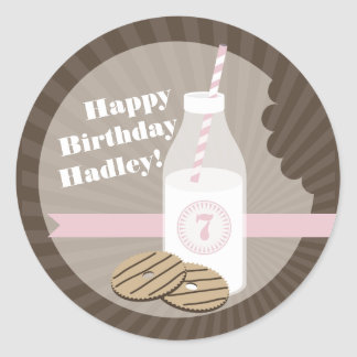 Milk + Cookies Birthday Sticker Striped + Pink