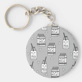 Milk & Cookies Grey Kids Food / Andrea Lauren Basic Round Button Key Ring